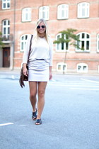 dark brown LOGG bag - ivory H&M skirt - black Marni for H&M sandals