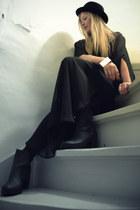 black H&M boots - black transparant weekday dress - black bowler hat H&M hat