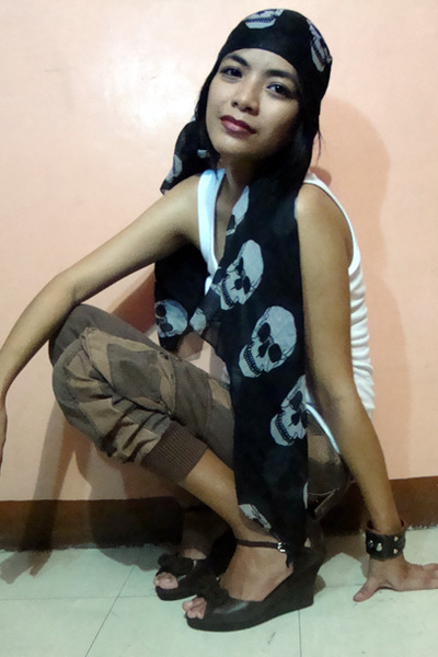 black saveonfashion scarf - brown wedge shoes - brown cargo saveonfashion pants