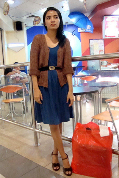 brown saveonfashion cardigan - blue Seventeen dress - black thrifted belt - brow