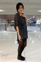 stockings - anchor print saveonfashion dress - slim leather thrift belt