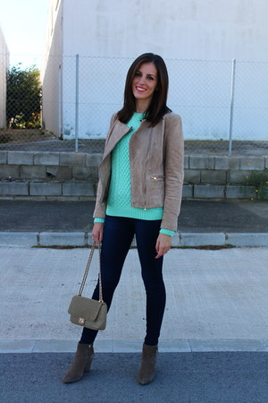 aquamarine Tiffosi sweater - light brown Mango boots - navy Tiffosi jeans