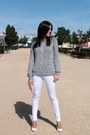 Heather-gray-suiteblanco-sweater-white-zara-heels