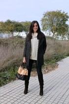 Easy Wear coat - dark brown Mango boots - Zara jeans - beige Sheinside sweater