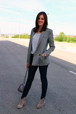silver Mango sweater - heather gray alpe boots - navy Zara jeans - Mango blazer