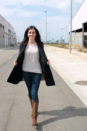 Vila clothes coat - dark brown sendra boots - Mango jeans - beige Mango sweater