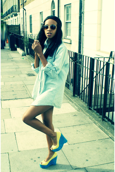 yellow Kandee shoes - blue H by Henry Holland shirt