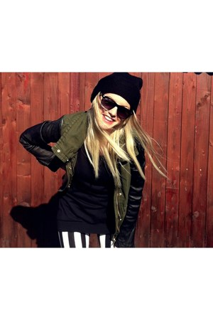 dark green Zara jacket - New Yorker leggings - Ray Ban sunglasses