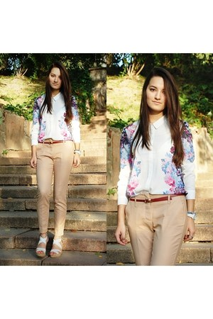 white H&M blouse - camel Zara pants