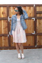 cream H&M dress - blue jean jacket Fire LA jacket - white H&M heels