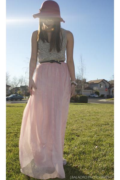 light pink maxi skirt Forever21 skirt - pink floppy hat Forever 21 hat
