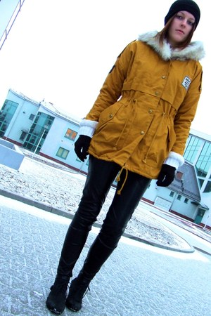 Sheinside coat - Market boots - allegro hat - Vila pants - F&F gloves