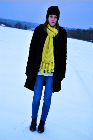 second-hand coat - Market boots - Vila jeans - allegro hat - H&amp;M scarf