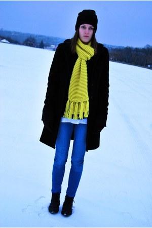 second-hand coat - Market boots - Vila jeans - allegro hat - H&M scarf