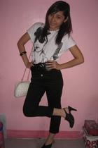 black pants - white shirt - black shoes - white accessories - black belt - black