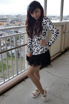 white jacket - black skirt - white shoes - black accessories - beige stockings -