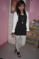 top - leggings - shoes - jacket - bracelet - necklace