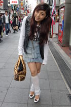 black vest - white shirt - white shoes - blue skirt - brown accessories - white 