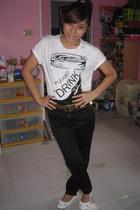 shirt - pants - shoes - earrings - belt - accessories
