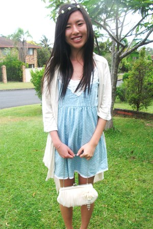 Ally dress - Equip bag - mums borrowed cardigan - flower Sportsgirl accessories