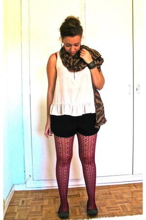 brick red printed BLANCO tights - brown animal print pull&bear scarf