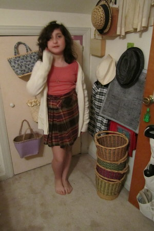 dark brown thrifted vintage skirt - salmon abercrombie and fitch shirt - off whi