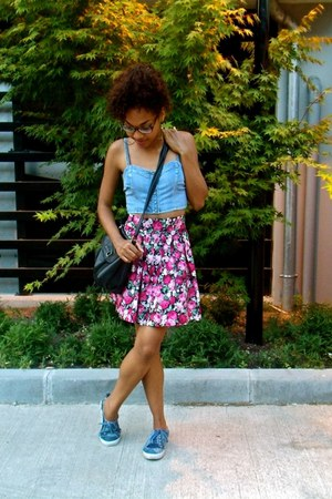 hot pink Reko Design skirt - sky blue Mango top
