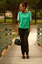 green Ebay blouse - black Zara heels