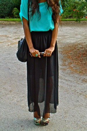 aquamarine Ebay top - black Ebay skirt - aquamarine asos heels