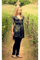 aquamarine dress - black lace worn atop dress - black jeans - off white japan-in