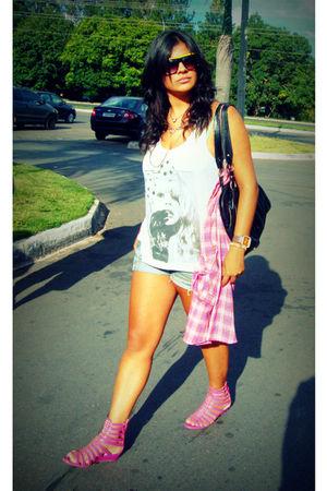 pink blouse - pink shoes - silver shirt - blue shorts - black glasses - orange a