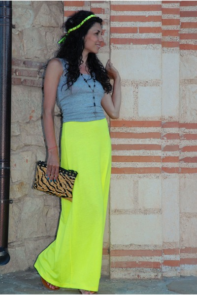 lime green Lipsy skirt - camel animal print Zara bag - heather gray H&M vest