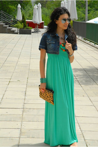 light orange animal print Zara bag - aquamarine Sweet G dress