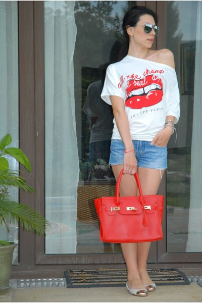 red lips philipp plein blouse - Zara flats