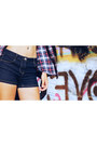 Black-platform-gojane-boots-red-h-m-shirt-blue-mid-rise-papaya-shorts