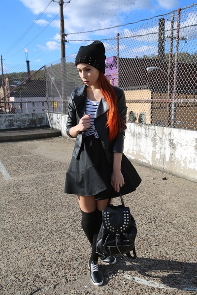 a7e1035a8aa faux leather Forever 21 shoes - a-line Express dress - spiked Steve Madden  hat