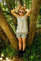 silver DIY top - blue Glassons shorts - black doc martens shoes