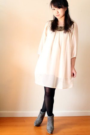 eggshell H&M dress - gray Zara boots - dark khaki H&M blazer