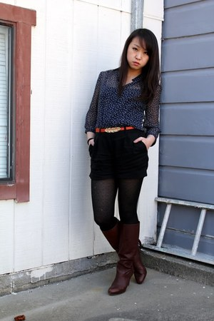 navy Forever 21 blouse - dark brown Enzo Angiolini boots - gray H&M jacket