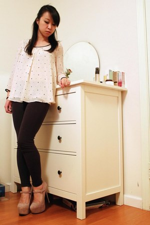 light pink shoemint heels - dark gray Forever 21 leggings - cream H&M blouse