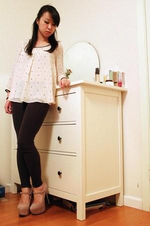 light pink shoemint heels - dark gray Forever 21 leggings - cream H&M blouse