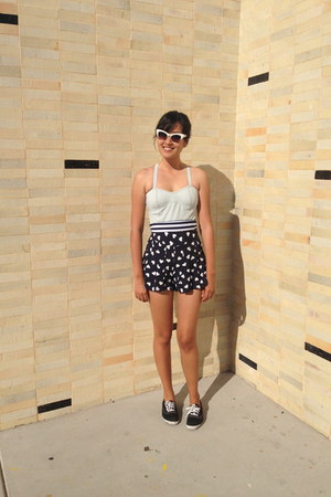 navy shorts - white cat eye asos sunglasses - black Keds sneakers