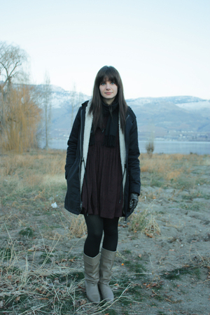black American Apparel coat - dress - brown gloves - beige boots - black scarf
