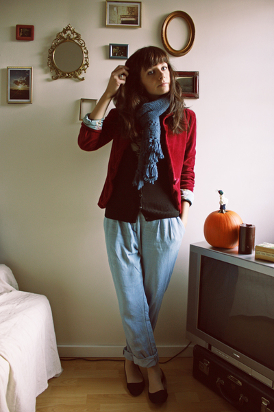 blazer - H&M sweater - H&M pants - Kimchi Blue shoes - scarf