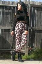 black Wet Seal shirt - black PacSun boots - bubble gum PacSun pants