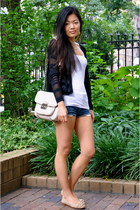 banana republic bag - denim H&M shorts - knit calvin klein vest