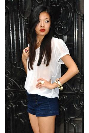 white chiffon blouse Zara blouse - nude Esprite bag - navy denim Guess shorts