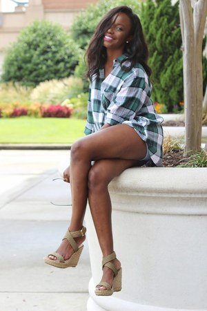 green green tartan Topshop shirt - tan wedges stuart weitzman shoes