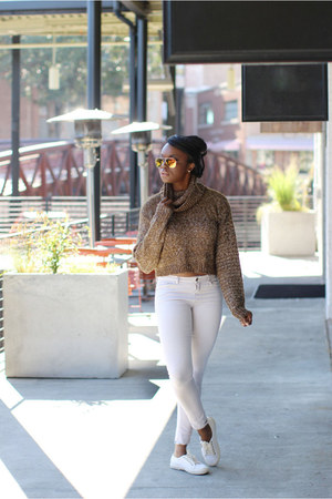 brown H&M sweater - beige denim Zara jeans - red Express sunglasses