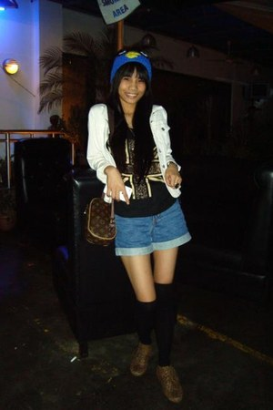 brown Forever21 shoes - white blazer - brown Louis Vuitton bag